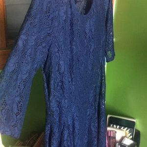 Dresses & Skirts - Navy blue quarter sleeve lace dress